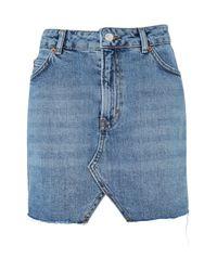 TOPSHOP | Red Moto Denim Mini Skirt | Lyst