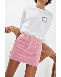 TOPSHOP Pink Moto Velvet Skirt