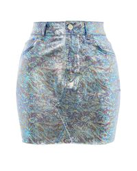 TOPSHOP - Multicolor Moto Metallic High-waisted Skirt - Lyst