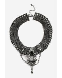 TOPSHOP - Multicolor Embellished Gunmetal Collar Necklace - Lyst