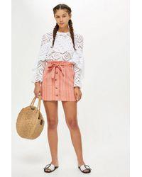 c6467a96b0 TOPSHOP Petite Striped Mini Skirt in Pink - Lyst