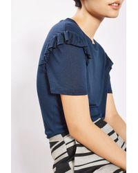 TOPSHOP Blue Frill Sleeve T-shirt