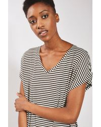 TOPSHOP Multicolor Stripe Side Split T-shirt