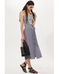 TOPSHOP Gray Button Through Midi Skirt