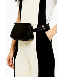 TOPSHOP Bonnie Black Crocodile Belt Bag