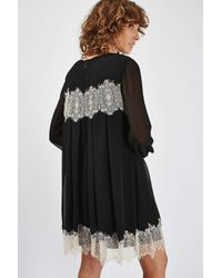 TOPSHOP   Black Lace Smock Dress   Lyst