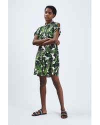 TOPSHOP Green Palm Print Shirt Dress