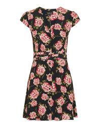 TOPSHOP Blue 'romantic Bloom' Tea Dress