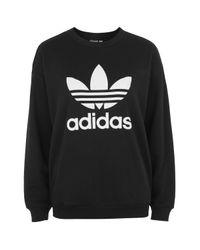 TOPSHOP Black Trefoil Sweatshirt By Adidas Original
