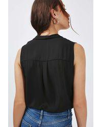 TOPSHOP - Black Sleeveless Drape Body - Lyst