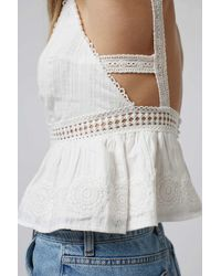 TOPSHOP - White Crochet Plunge Cropped Sun Top - Lyst