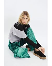 TOPSHOP Green Crushed Velvet Trousers