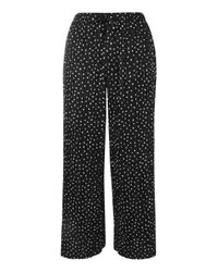 TOPSHOP | Black Belted Spot Plisse Trousers | Lyst