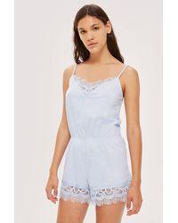 TOPSHOP Blue Premium Cotton And Lace Teddy