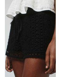 TOPSHOP | Black Floral Crochet Shorts | Lyst