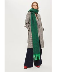 TOPSHOP - Green Brushed Two Tone Scarf - Lyst