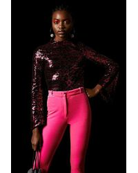 TOPSHOP Pink Cheetah Sequin Top By X Halpern