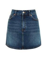 TOPSHOP - Blue Moto Denim Mini Skirt - Lyst