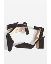 TOPSHOP - Black Grande Mary Jane Heeled Shoes - Lyst