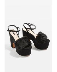 TOPSHOP - Black Lash Faux Fur Sandals - Lyst