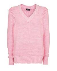 TOPSHOP Pink Oversized Stitchy V Neck Knit