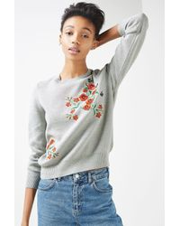 TOPSHOP - Gray Floral Embroided Knitted Jumper - Lyst