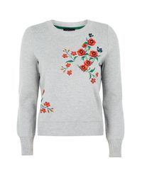 TOPSHOP Gray Floral Embroided Knitted Jumper