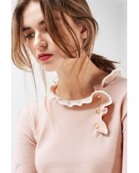 TOPSHOP - Multicolor Tipped Button Frill Knitted Top - Lyst