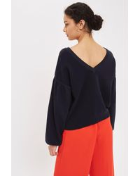 TOPSHOP Blue Balloon Sleeve V- Neck Back Knitted Top