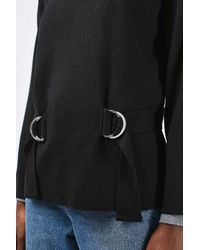 TOPSHOP - Black Wide Sleeve Double D-ring Jumper - Lyst