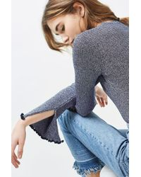 TOPSHOP - Blue Flute Frill Sleeve Knitted Top - Lyst