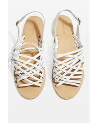 TOPSHOP - White Weave Sandals - Lyst