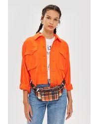 TOPSHOP Orange Check Bumbag