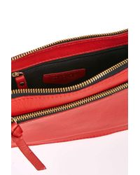 TOPSHOP | Red Leather Whipstitch Crossbody | Lyst