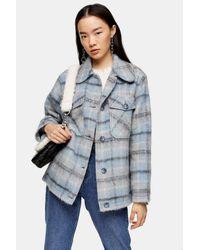 TOPSHOP Blue Check Jacket