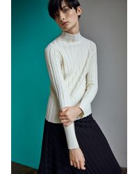 TOPSHOP | White Funnel Neck Ribbed Top By Boutique | Lyst