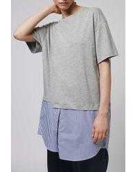 TOPSHOP - White Shirt Hem Dress By Boutique - Lyst