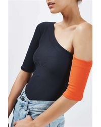 TOPSHOP - Blue Asymmetric Ribbed Body By Boutique - Lyst