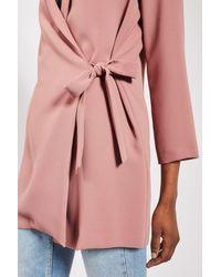 TOPSHOP Pink Petite Tie Side Blazer Dress