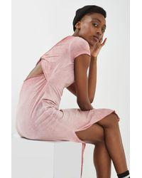 TOPSHOP Pink Petite Twist Back Maxi Dress