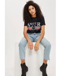TOPSHOP Black Tall 'amour' T-shirt
