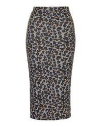 TOPSHOP | Brown Leopard Print Midi Skirt | Lyst