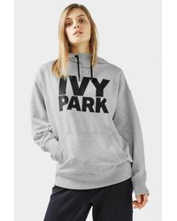 TOPSHOP Gray Boyfriend Style Logo Hoodie By Ivy Park