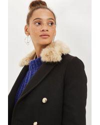 TOPSHOP - Black Faux Fur Collar Duster Coat - Lyst
