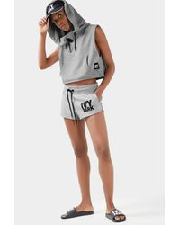 TOPSHOP Gray Sleeveless Cropped Hoodie By Ivy Park