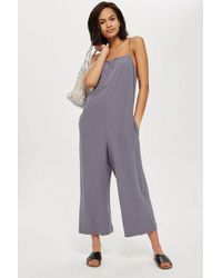 TOPSHOP - Blue Molly Square Neck Slouch Jumpsuit - Lyst