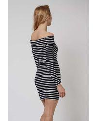TOPSHOP - Pink Tall Stripe Bardot Dress - Lyst