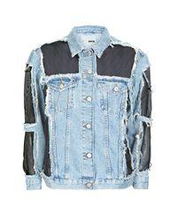 TOPSHOP | Blue Tall Moto Organza Denim Jacket | Lyst