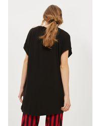 TOPSHOP - Black Tall Side Split T-shirt - Lyst