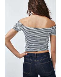 TOPSHOP - Blue Tall Tie-up Strappy Bardot Top - Lyst